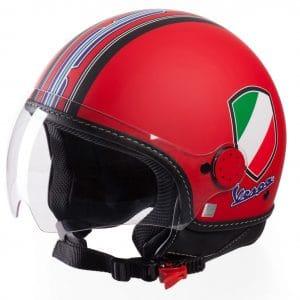 Helm -VESPA Jethelm V-Stripes- rot schwarz (Casco Red)- S (55-56 cm) 606524M02R