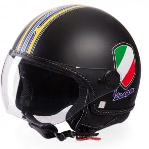 Helm -VESPA Jethelm V-Stripes- schwarz gelb (Casco Black)- M (57-58 cm) 606524M03B