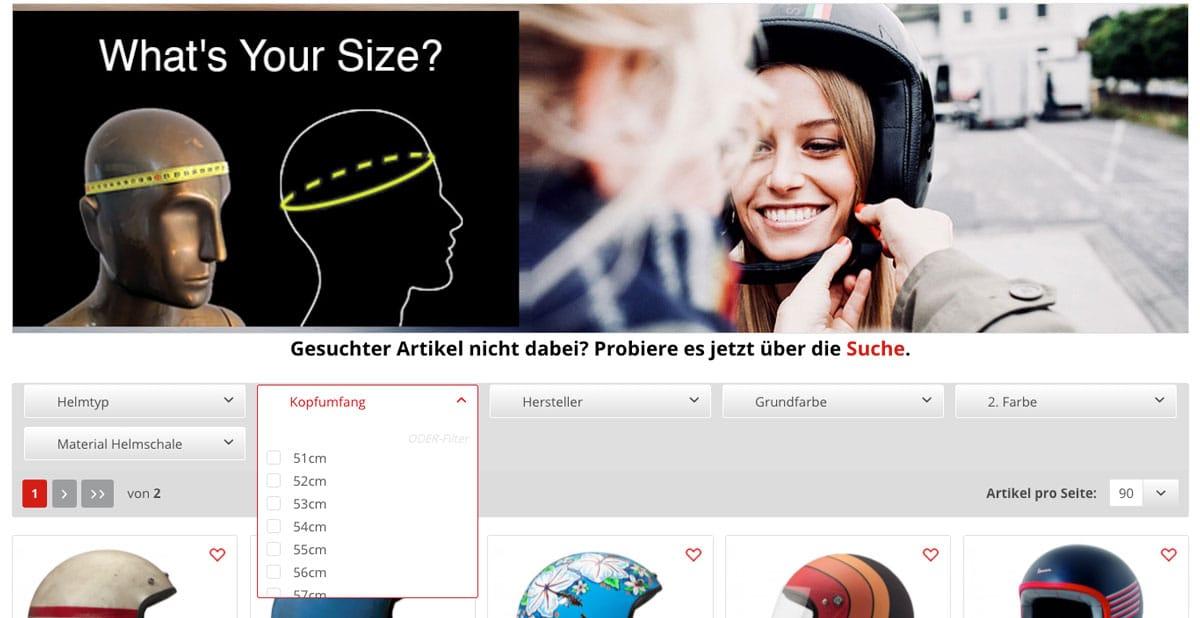 Helmfinder Passende Größe finden